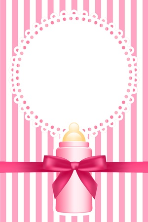 pink background with baby bottle Vector