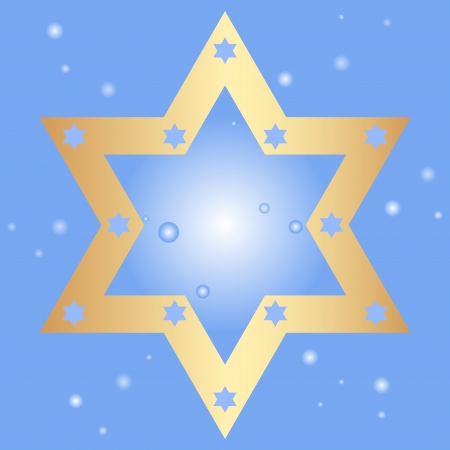 hebrew bible: Vector blue background with golden star of David