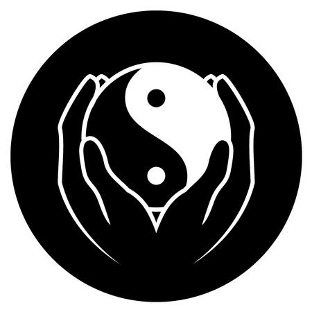 shui: Illustrazione vettoriale di mani in possesso di yin yang simbolo Vettoriali