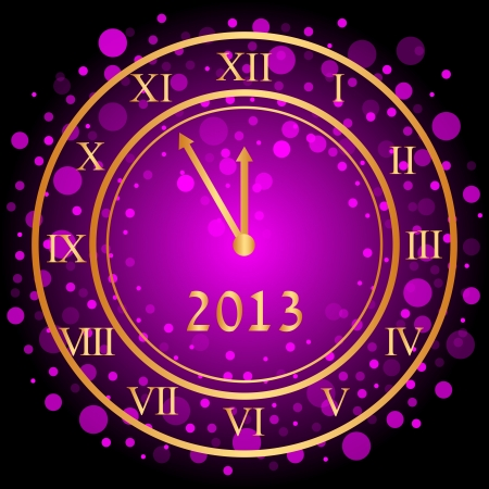 illustration of purple New Year clock Vector