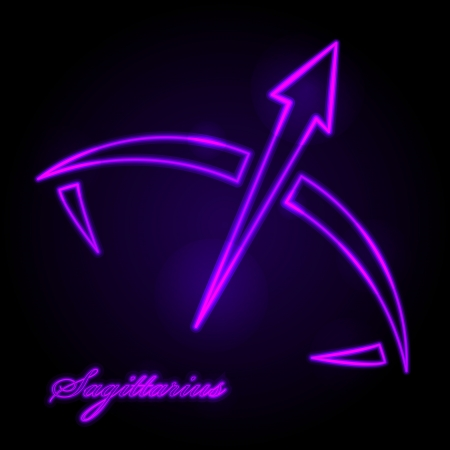 sagittarius: Vector Sagittarius glowing sign