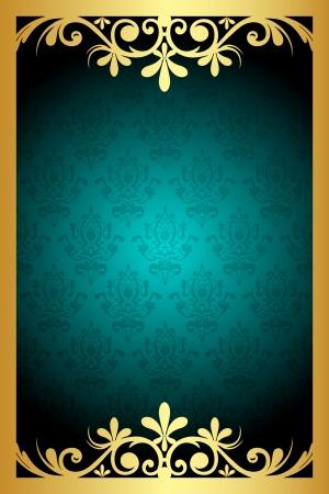papel tapiz turquesa: Vector floral de color turquesa y marco dorado