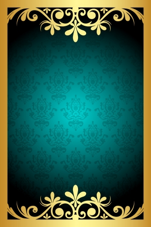golden border: Vector floral turquoise  and gold frame
