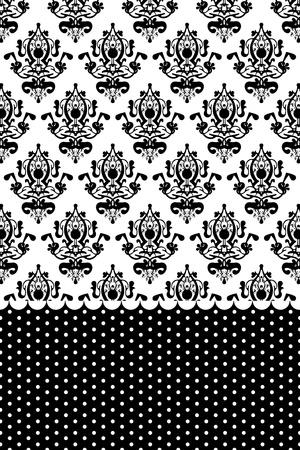 flores fucsia: Vector blanco y negro del papel pintado Vectores