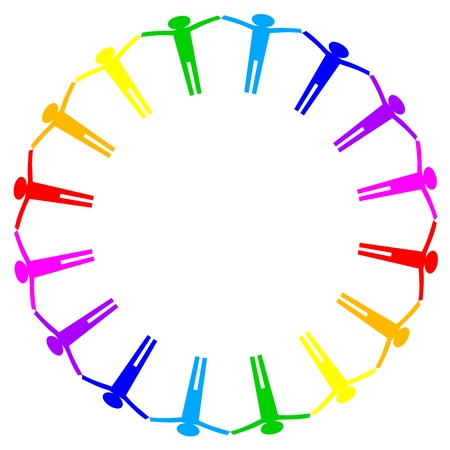 Vector colorful icon of people in circle Vector