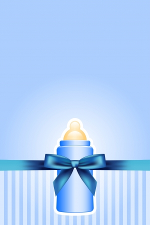 Vector background with baby bottle and bow Vector