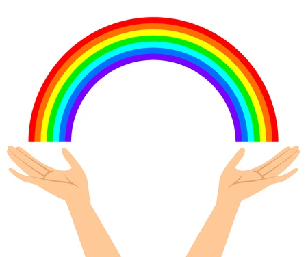 Vector illustration of hands with rainbow Vector