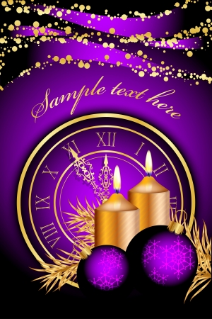 Vector purple christmas background with candles and clock Vector