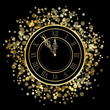 sylwester: Wektor błyszczący Nowy Rok Clock Ilustracja
