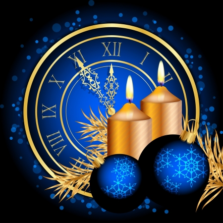 midnight hour: Vector blue and gold christmas background Illustration