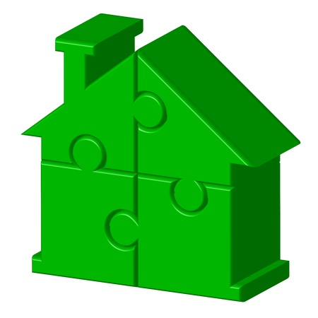construction plan: Vector illustration of green house from puzzle