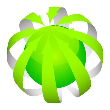 Vector - green arrows around the world Stock Vector - 17336103