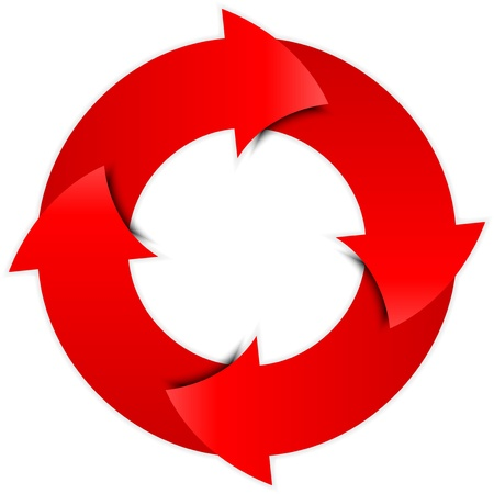 cíclico: Vector rojo flechas círculo