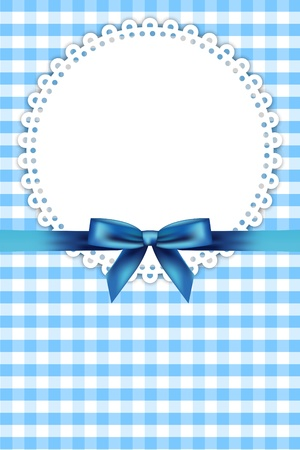 child birth: Vector blue frame with napkin and ribbon Illustration