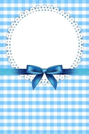 Vector modrý rámeček s ubrouskem a stuhou Ilustrace