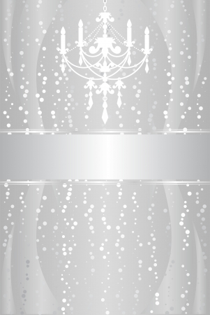 Shiny silver frame with chandelier Vector