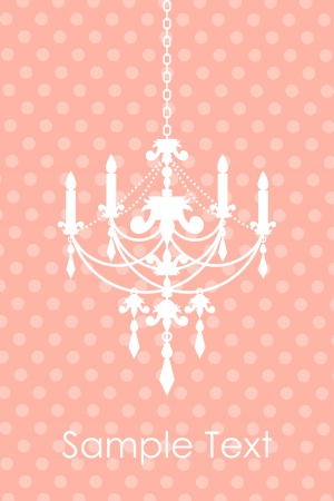 chandelier isolated: Vector pink spotted background with chandelier Illustration