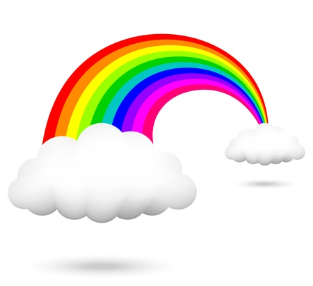 rainbow colours: Vector illustration of rainbow and clouds Illustration