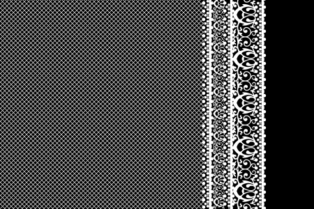 lace vector: Vector white lace on black background Illustration
