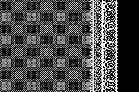 veters: Vector wit kant op zwarte achtergrond Stock Illustratie