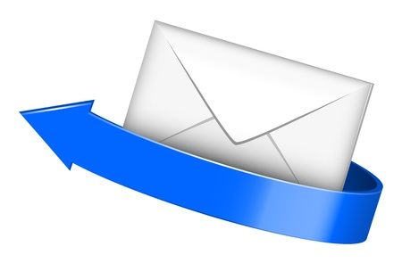 sent: Vector illustration of envelope with blue arrow