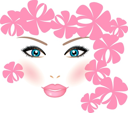 Vector illustration of girl with flowers Vector