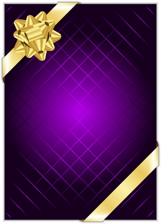 Vector purple background with gold bow Vector