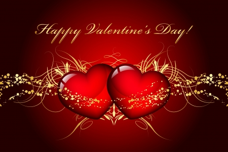 valentine's day: Vector Happy Valentines Day card with hearts