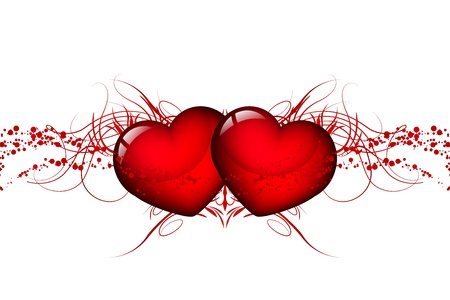 Vector two red hearts Stock Vector - 17414446