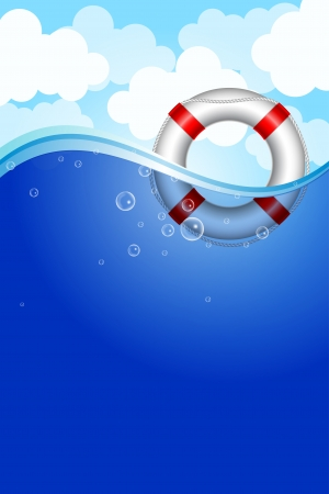 Vector illustration of Life Buoy in water Vector