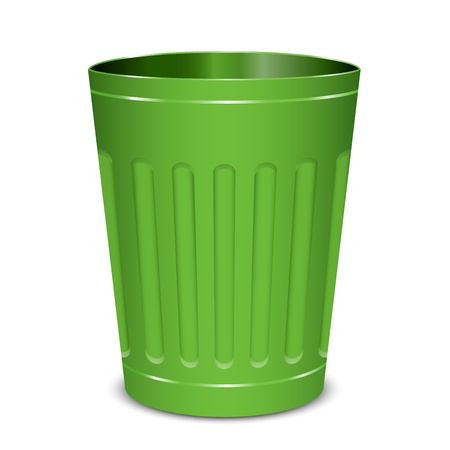 wastepaper: Vector illustration of green garbage can