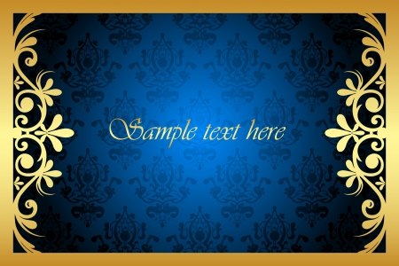 Vector gold and blue floral frame Vector