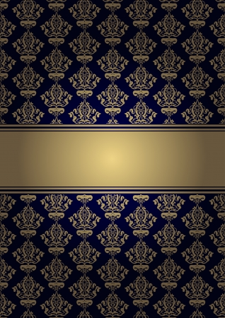 ornamented: blue background with gold ornament