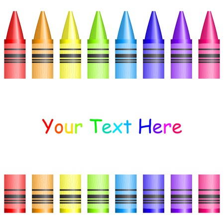 implement: frame with colorful crayons