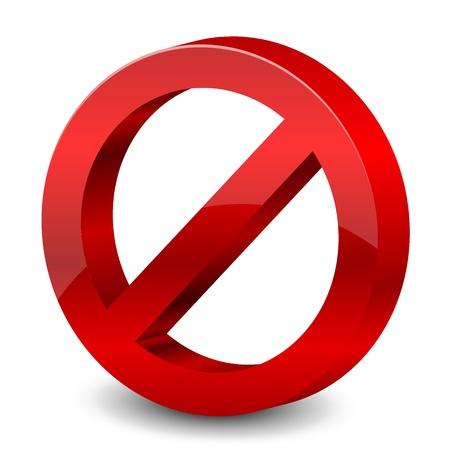 no entry sign: illustration of 3d forbidden sign