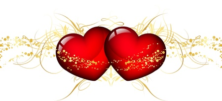 two hearts: illustration of two red hearts