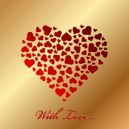 With love  - gold card with hearts Vector