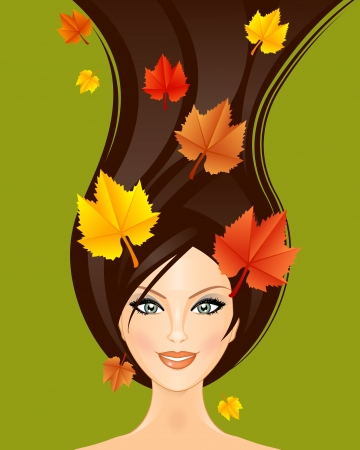 brunettes: illustration of autumn woman