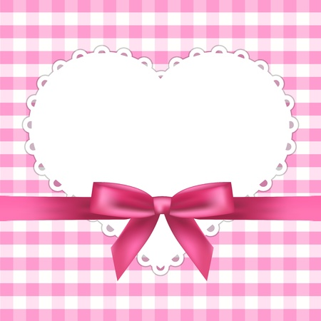 white napkin: pink frame with heart Illustration