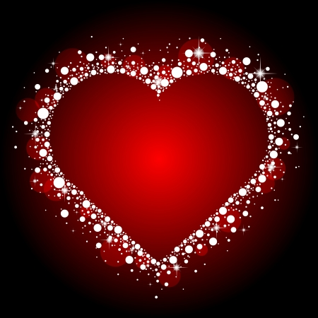 red frame with shiny heart Vector