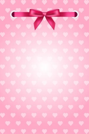 moño rosa: fondo rosa con corazones y cinta
