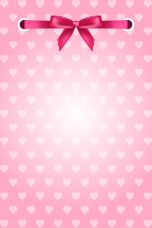 pink background with hearts and ribbon Stock Vector - 17688040