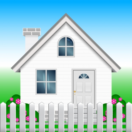 yard sale: illustration of house and garden Illustration
