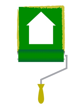 tinting: illustration of paint roller with house icon Illustration