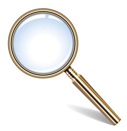 optical glass: illustration of golden magnifying glass