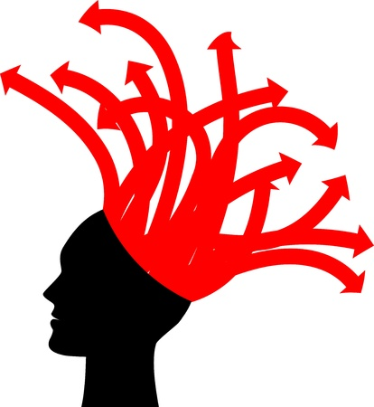 helplessness: illustration of head with red arrows Illustration