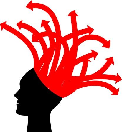 preocupacion: ilustración de la cabeza con flechas rojas
