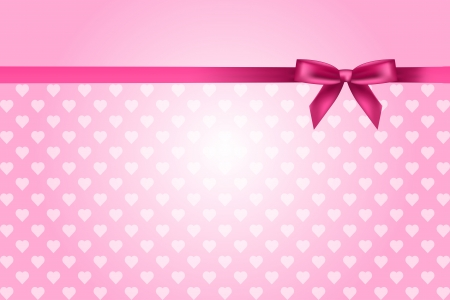 pink background with hearts pattern and bow Vector