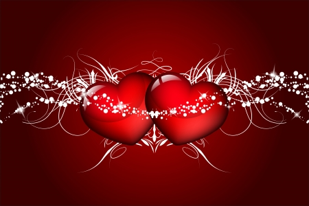 red background with hearts Stock Vector - 17688881