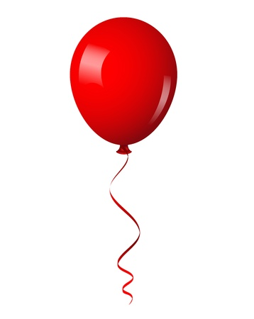 red balloon: illustration of red shiny balloon with ribbon Illustration